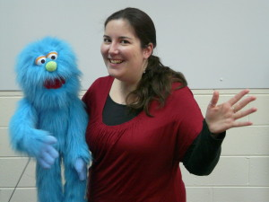 Alison and blue puppet